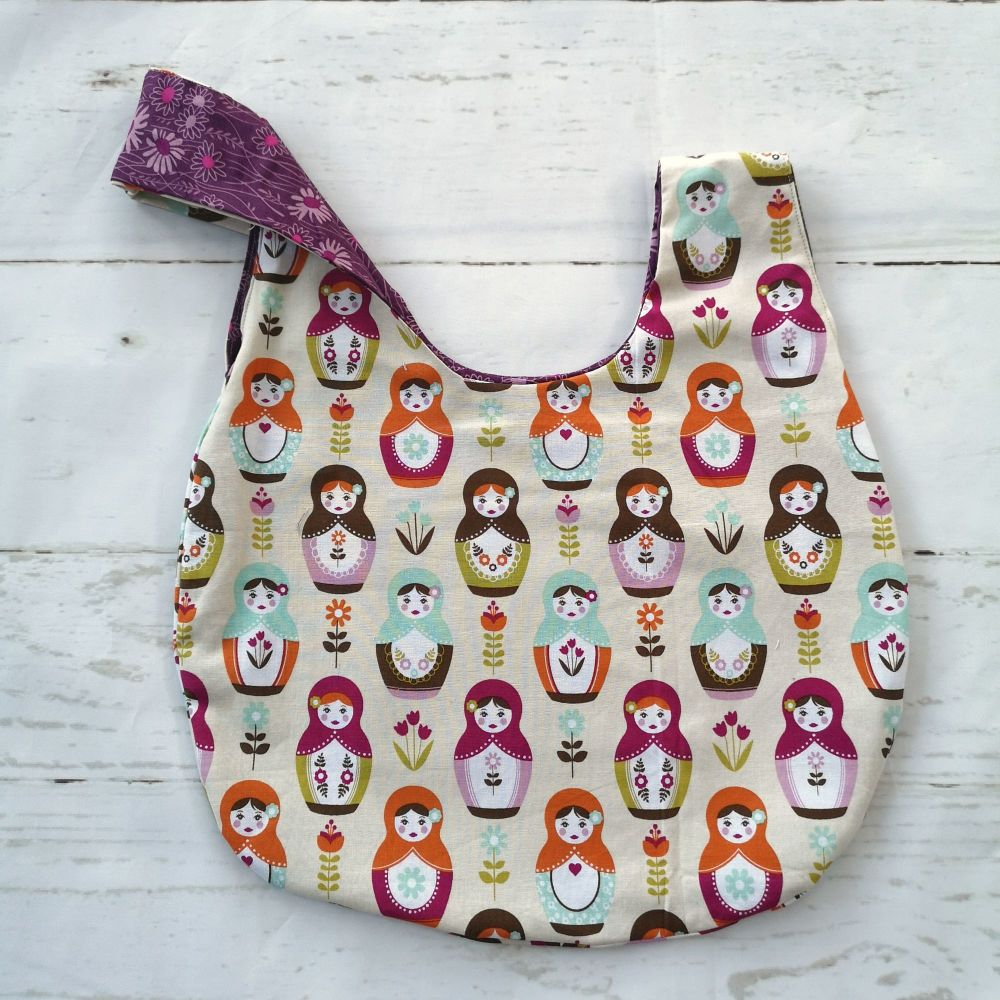 Stacking Dolls/ Purple Flowers Medium Project Bag (Slip Pocket)