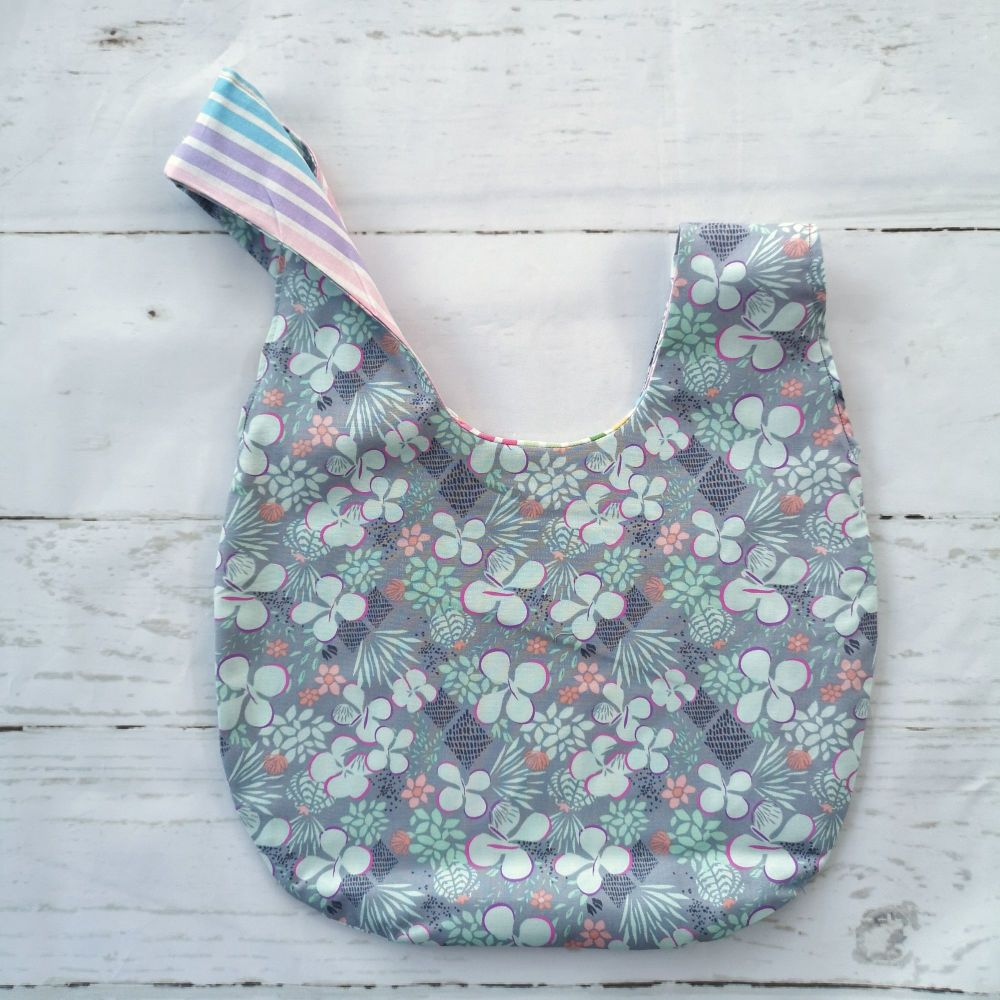Grey Flowers / Candy Stripes Medium Project Bag (Slip Pocket)