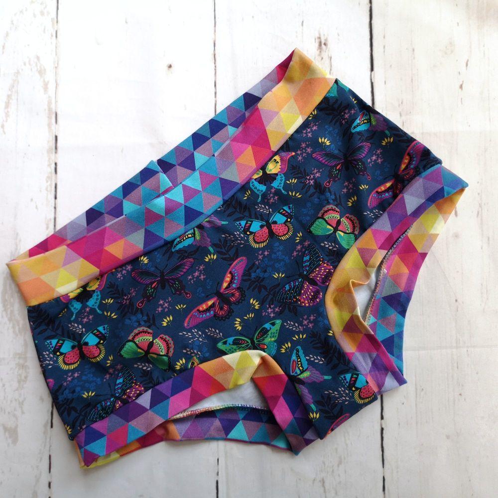 MEDIUM Boy Shorts UK 10-12 - Teal Butterflies