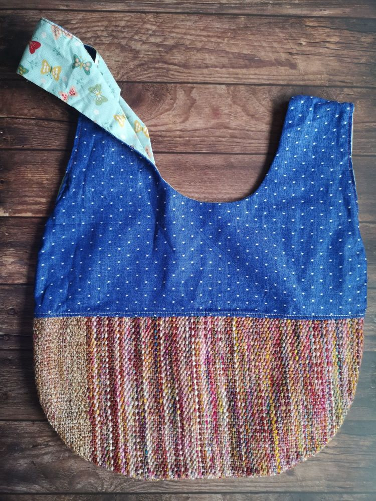 Hand woven & Denim / Butterflies Medium Project Bag