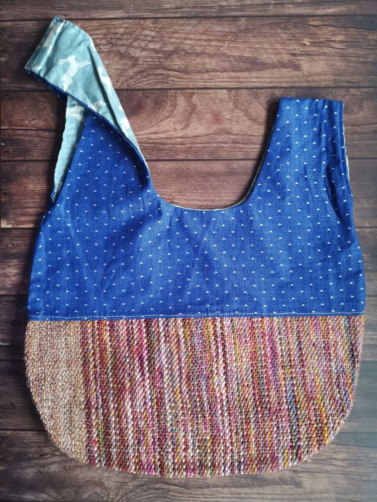 Hand woven & Denim / Hares Medium Project Bag