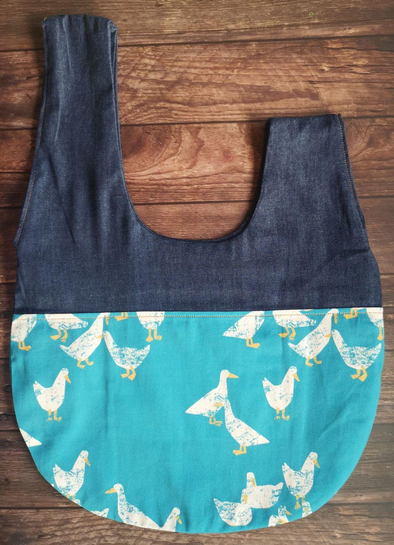 Goose / Denim Japanese Knot Style  Project Bag - Zippered inner pocket