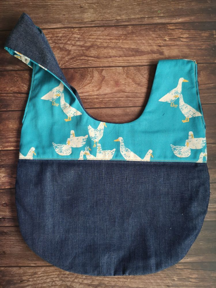 Goose / Denim Japanese Knot Style  Project Bag - Zippered inner pocket