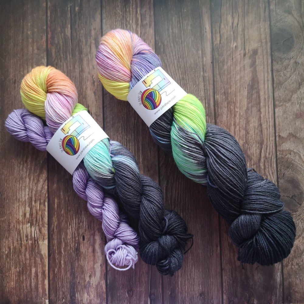 Rainbow Skies (50g & 20g) on Merino Nylon Platinum sock