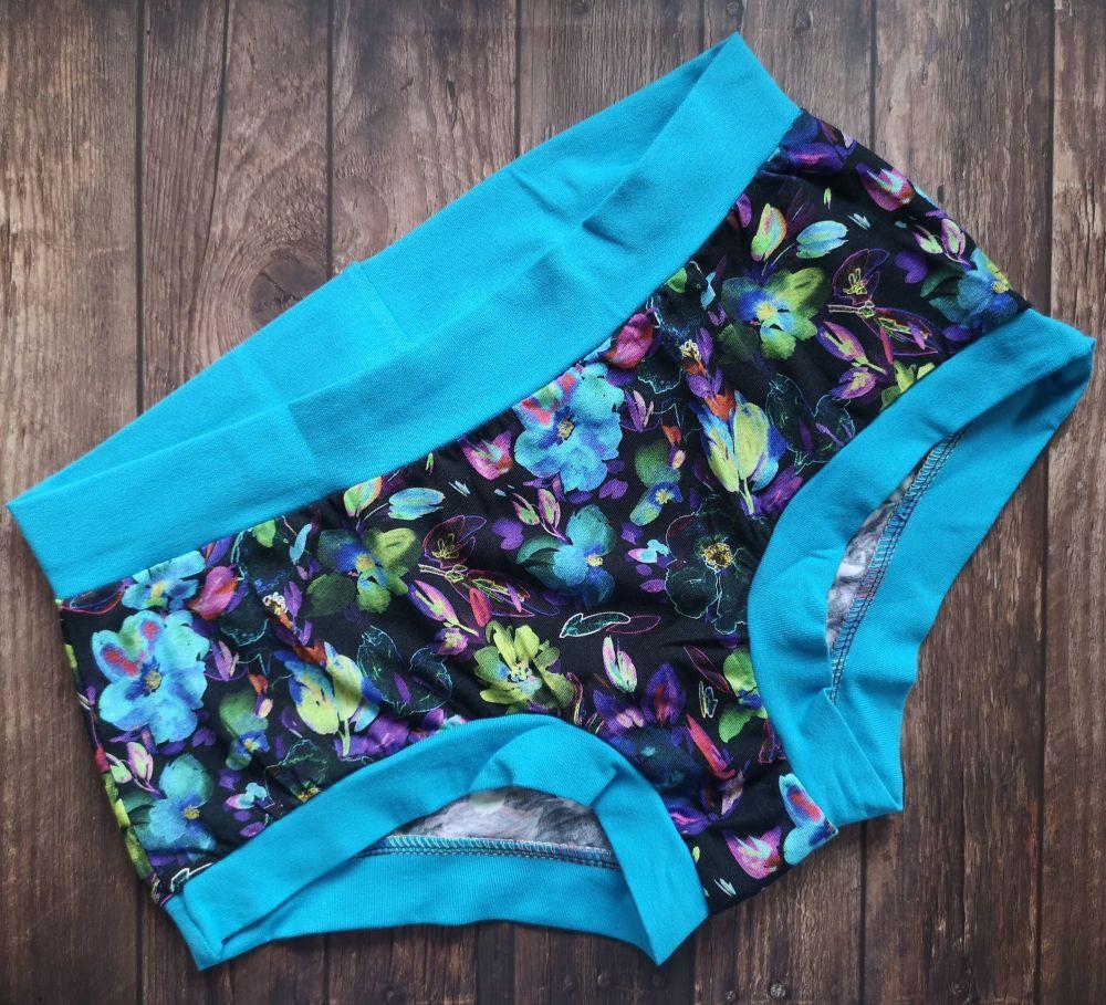 MEDIUM Boy Shorts UK 10-12 - Neon Flowers