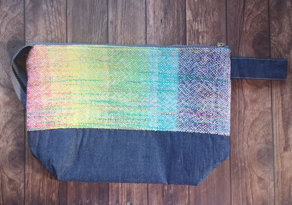 Handwoven Rainbow Boxy Bottomed Project Bag
