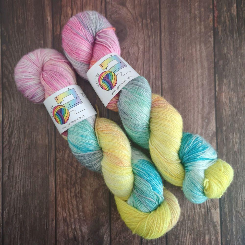 Fluttershy on Silver Sparkle Sock