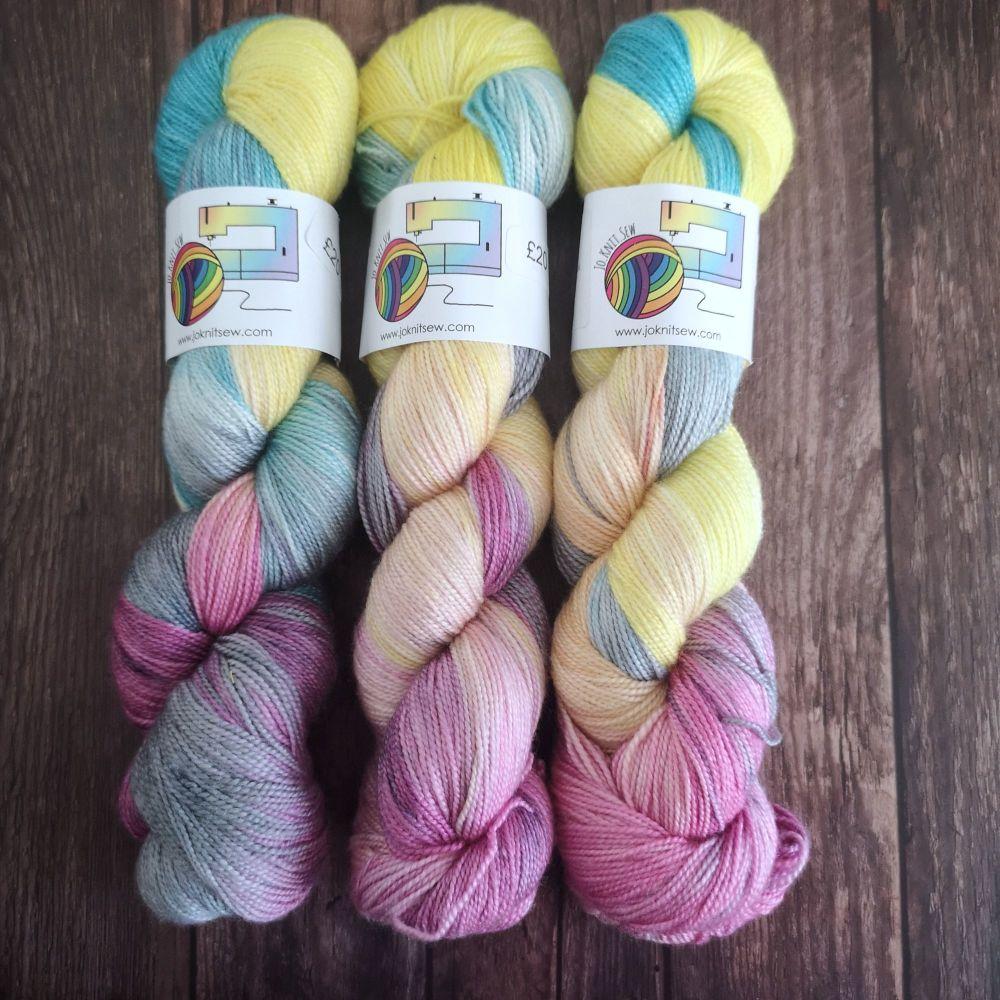 Fluttershy on Merino Silk High Twist Sock