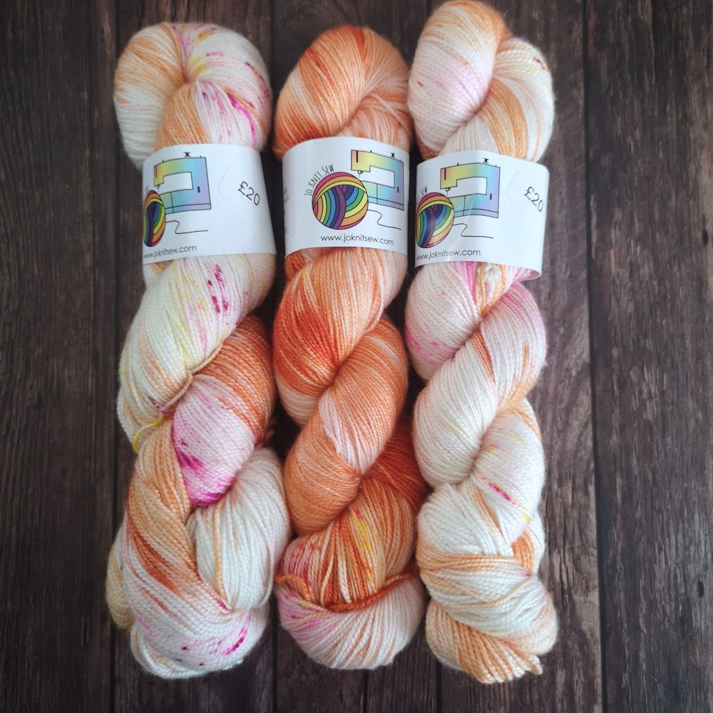 Orange you Fab on Merino Silk High Twist Sock