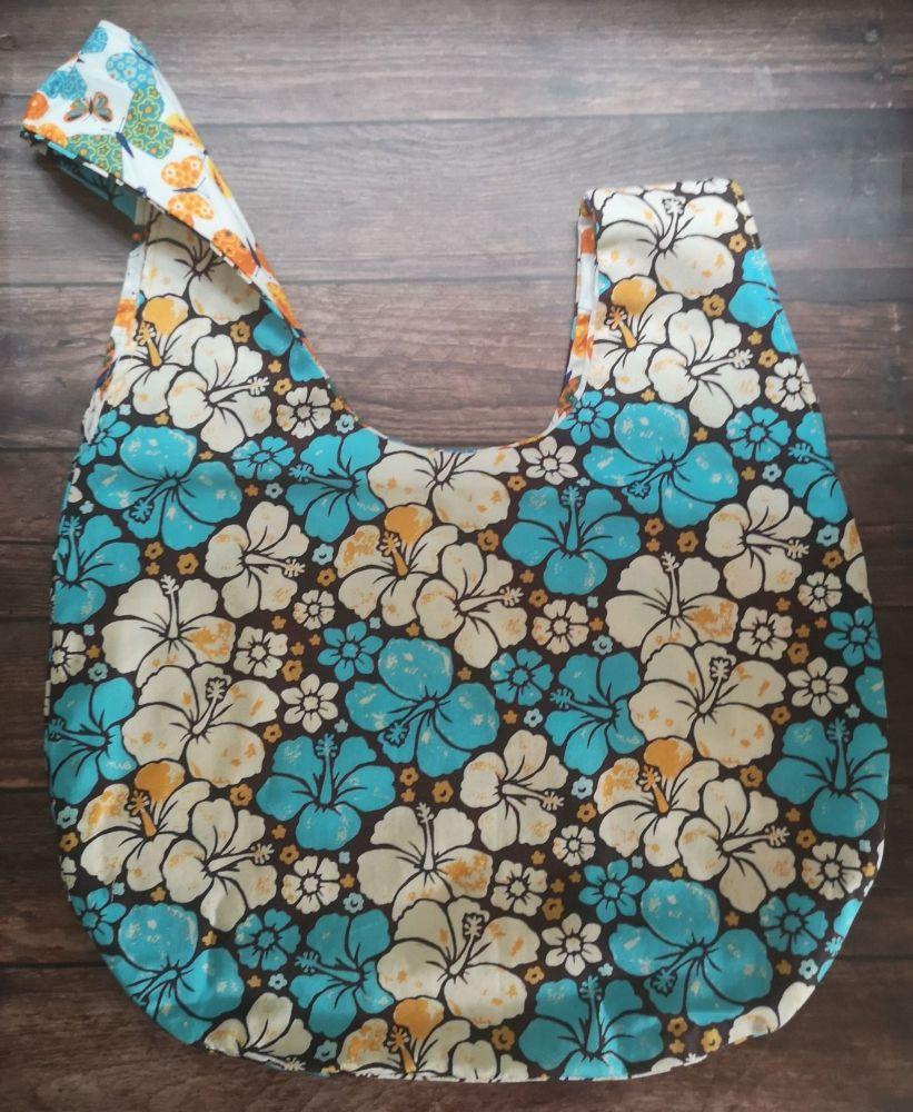 Hibiscus / Butterflies Medium Project Bag (Zip Pocket)