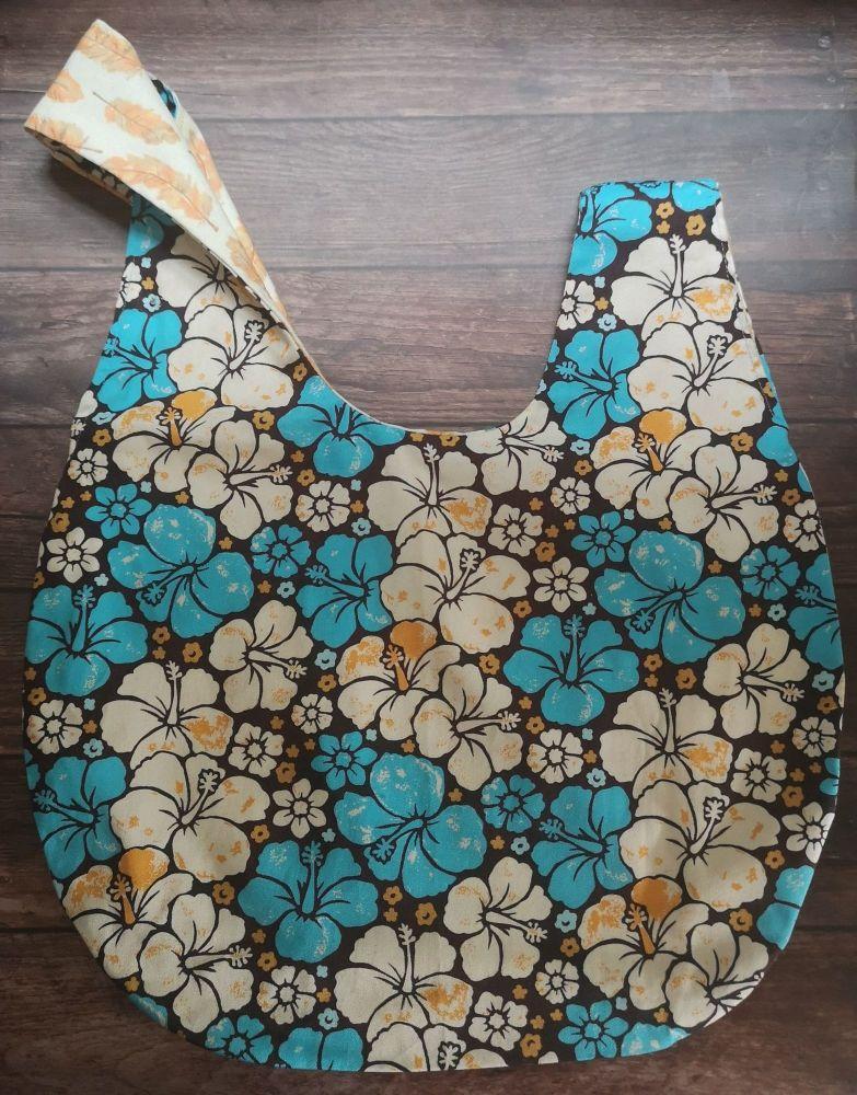 Hibiscus / Feathers Medium Project Bag (Slip Pocket)