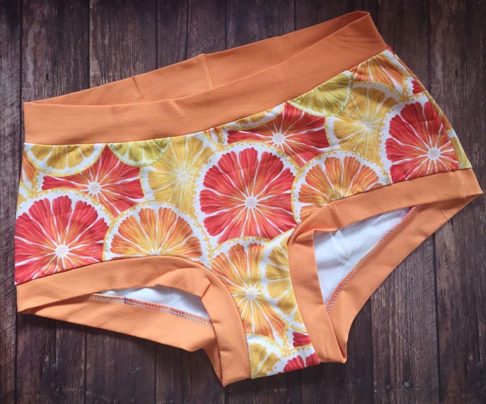 XL Boy Shorts UK 18-20 - Citrus