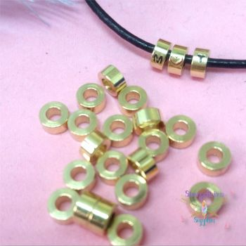 Brass Stamping Beads - Raw Brass Tube Beads - Small