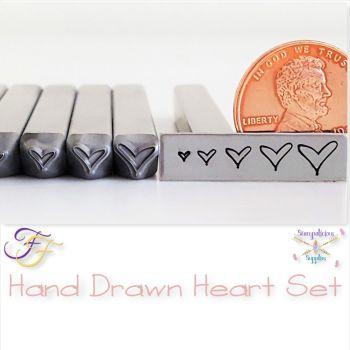 Hand Drawn Heart Metal Design Stamp Set