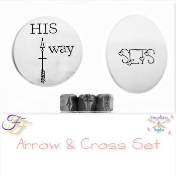 Arrow & Cross Metal Design Stamp Set