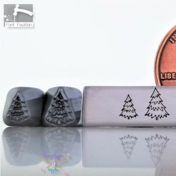Christmas Tree Metal Design Stamp - With Lines