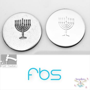 9 Candle Menorah Metal Design Stamp - Fat Bottom Shank