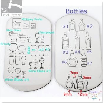 Everything Alcohol - Glass & Bottles Metal Design Stamps - Which Size & Style?
