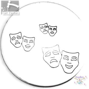Thalia & Melpomene Drama Mask Metal Design Stamp - What Size?