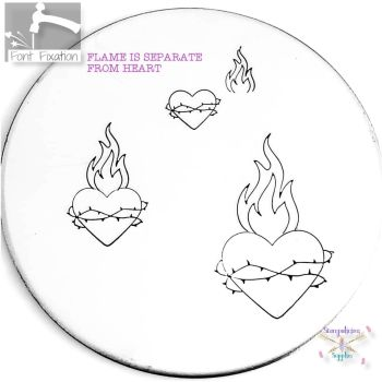 Sacred Heart Metal Design Stamp - What Size? - *** Flame Found Here ***
