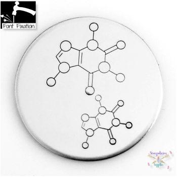 Science Caffeine Molecule Metal Design Stamp - What Size? *** Caffeine Molecular Structure ***