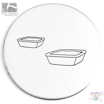 Cute Cat Litter Tray Metal Design Stamp - What Size?