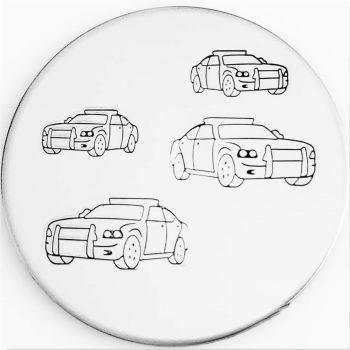 Police Car Metal Design Stamp - What Size?