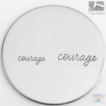 Full Single Word Metal Design Stamp - COURAGE - What Size?