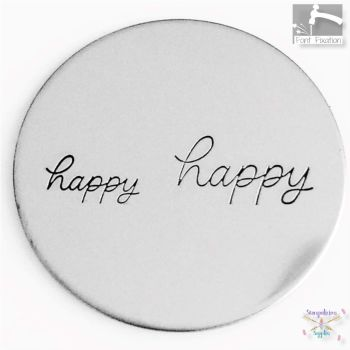 Full Single Word Metal Design Stamp - HAPPY - What Size?