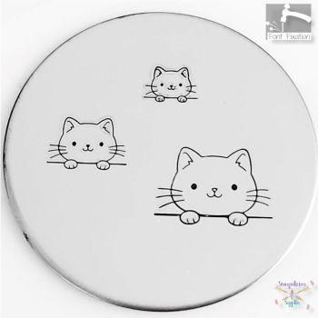 Cute Cat Metal Design Stamp - What Size? *** Hanging Cat Head ***