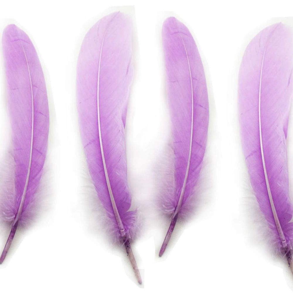 Lilac Goose Quill Feathers x 4