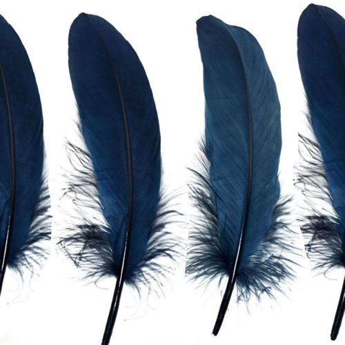 Navy Blue Goose Quill Feathers x 4