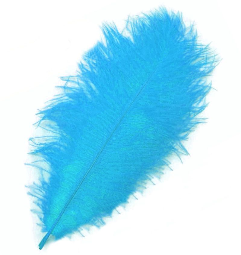 Deep Turquoise Blue Ostrich Feather