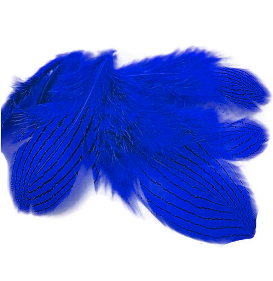 Royal Blue Silver Pheasant Feathers x 5