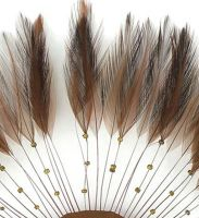 Brown Rooster Feathers Hackles Stripped x 10