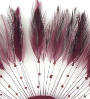 Burgundy Rooster Feathers Hackles Stripped x 10