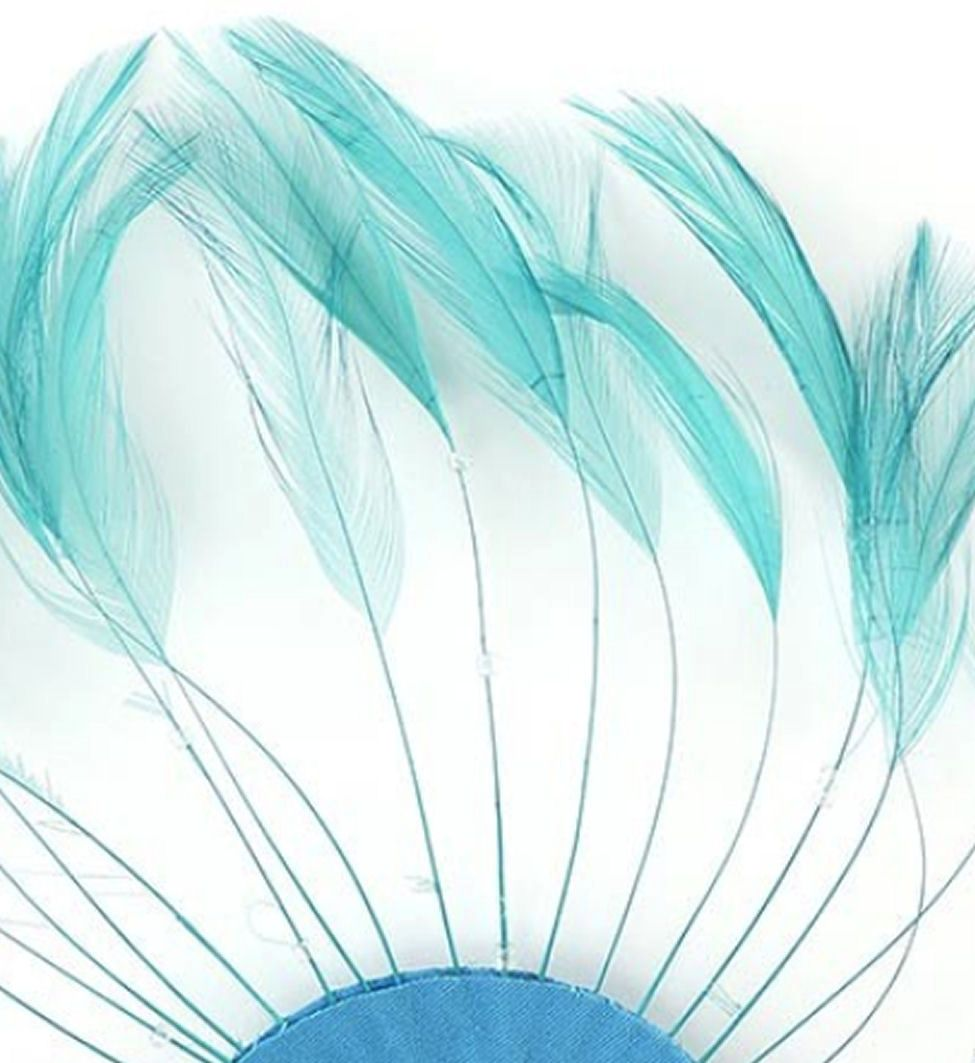Dark Aqua Rooster Feathers Hackles Stripped x 10