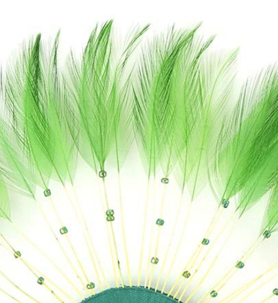 Green Rooster Feathers Hackles Stripped x 10