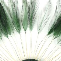 Hunter Green Rooster Feathers Hackles Stripped x 10