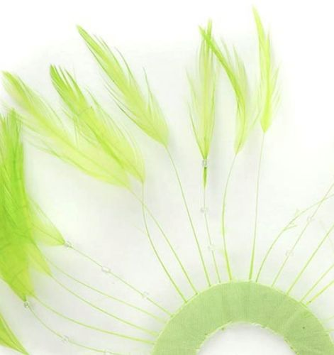 Lime Green Rooster Feathers Hackles Stripped x 10