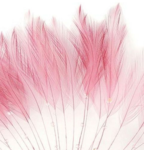 Rose Pink Rooster Feathers Hackles Stripped x 10