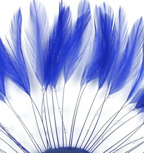 Royal Blue Rooster Feathers Hackles Stripped x 10