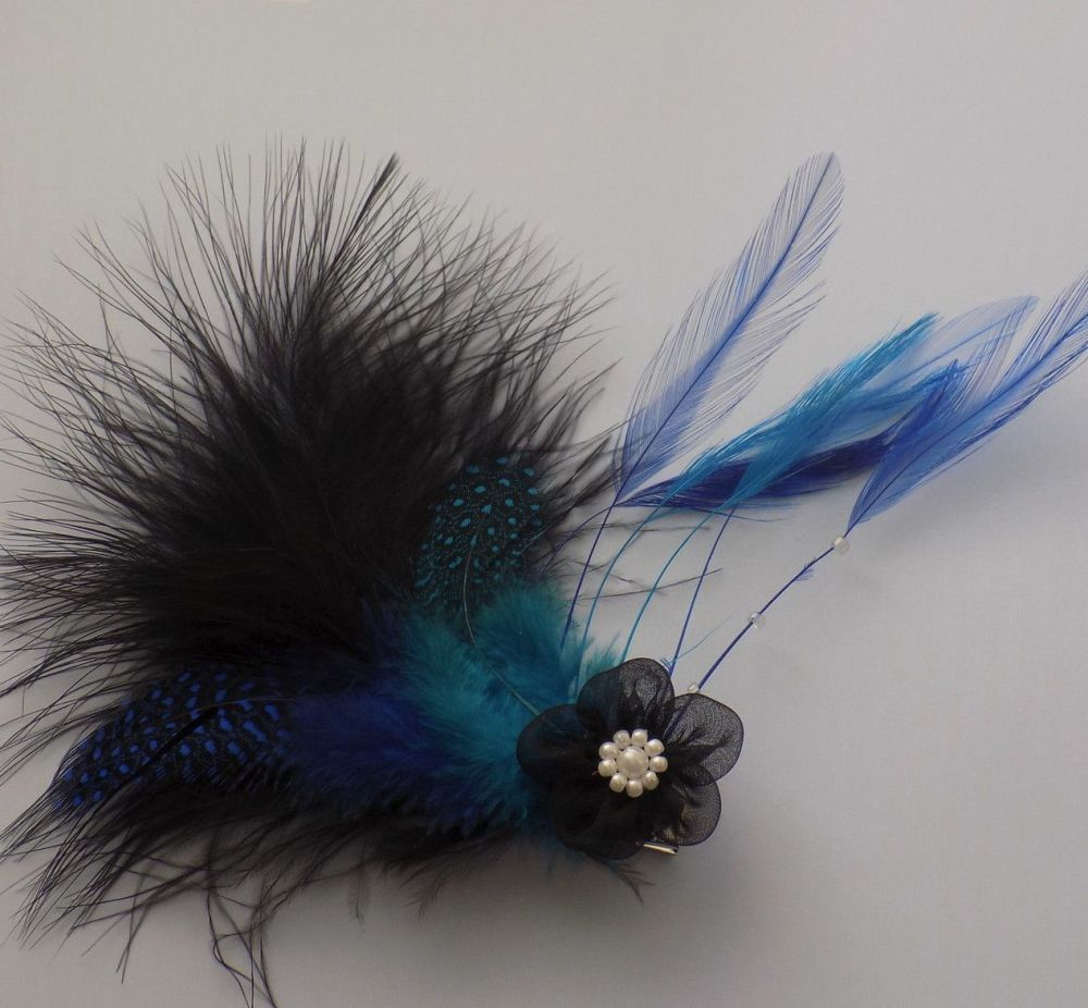 Feather Hair Clip Fascinator Style (Blue)