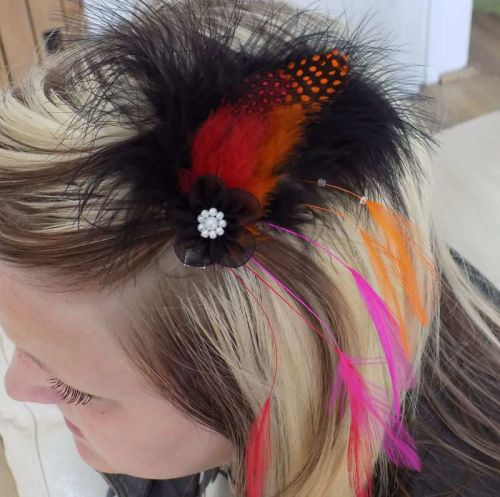 Feather Hair Clip Fascinator Style (Orange)