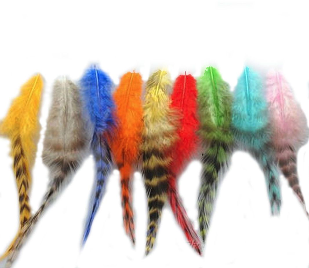 Rooster Saddle Feathers (Grizzly) in Assorted Shades