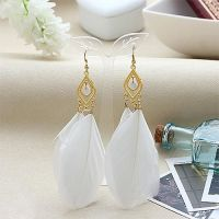 White and Gold Feather Earrings