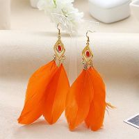Orange and Gold Feather Earrings