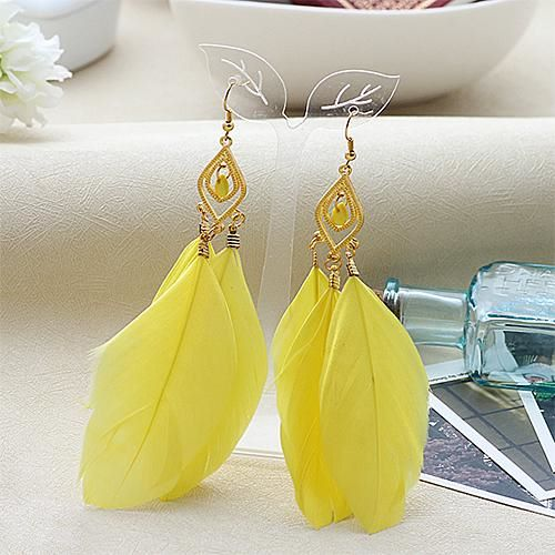 Yellow and Gold Feather Earrings