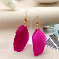 Dark Pink and Gold Feather Earrings