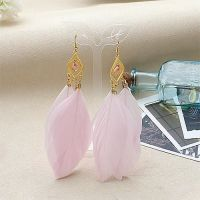 Candy Pink and Gold Feather Earrings